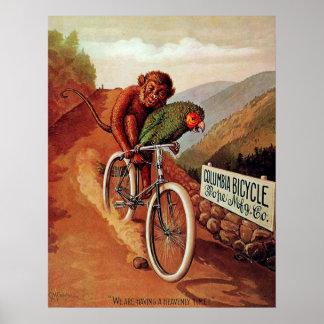 Vintage Humorous Monkey Parrot Bicycle Ride Poster