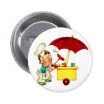 Vintage Kitsch Hot Dogs Hot Dog Cart Man 6 Cm Round Badge