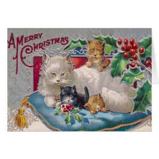 Vintage Kitty Cat Christmas Card, Customize it Greeting Card