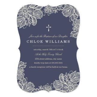 Vintage Lace Baptism 13 Cm X 18 Cm Invitation Card
