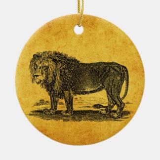 Vintage Lion Illustration -1800's African Animal Round Ceramic Decoration