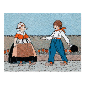 Vintage Little Dutch Girl Boy Traditional Dress Postcard