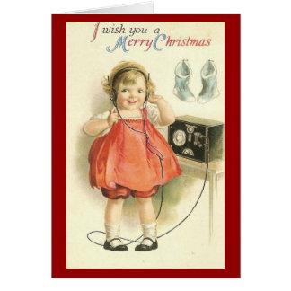 Vintage Little Girl Christmas Greeting Card