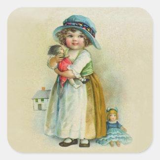 Vintage Little Girl Chubby Cheeks Hat Dolls Square Sticker