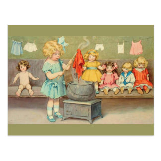 Vintage Little Girl Playing With Dolls Postcard
