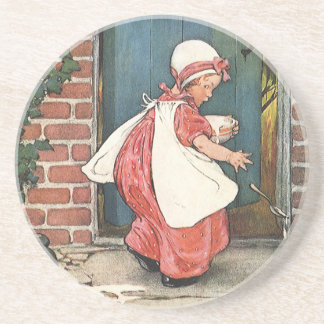 Vintage Little Miss Muffet Spider Nursery Rhyme Beverage Coaster