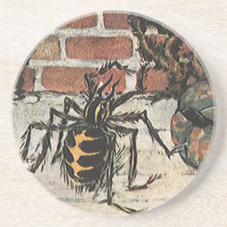 Vintage Little Miss Muffet Spider Nursery Rhyme Drink Coaster
