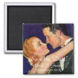 Vintage Love, Romance, Romantic, Save the Date Square Magnet