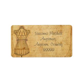 Vintage Mannequin Address Label