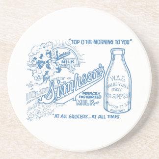 Vintage Milk Advertisement Sandstone Coaster