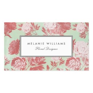 Vintage Mint Coral Peonies Floral Business Cards