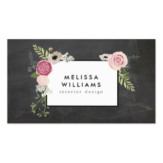 Vintage Modern Floral Motif on Chalkboard Designer Pack Of Standard Business Cards