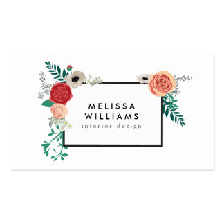 Vintage Modern Floral Motif on White Designer Pack Of Standard Business Cards