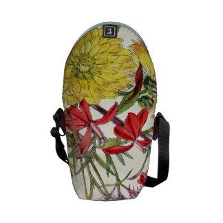 Vintage Modern Floral Pattern Rickshaw Bag Messenger Bags