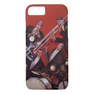 Vintage Music, Art Deco Musical Jazz Band Jamming iPhone 7 Case