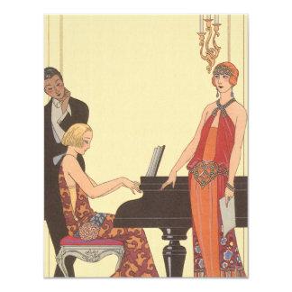 Vintage Music, Art Deco Pianist Musician Singer 11 Cm X 14 Cm Invitation Card