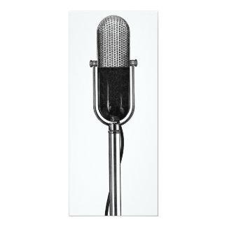 Vintage Music, Old Fashoined Retro Microphone 10 Cm X 24 Cm Invitation Card