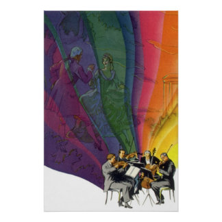 Vintage Music Rainbow, Man and Woman Dancers Poster