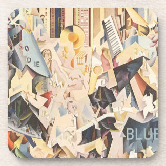 Vintage Music, Rhapsody in Blue Art Deco Jazz Drink Coaster