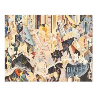 Vintage Music, Rhapsody in Blue Art Deco Jazz Postcard