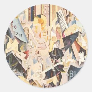 Vintage Music, Rhapsody in Blue Art Deco Jazz Round Sticker