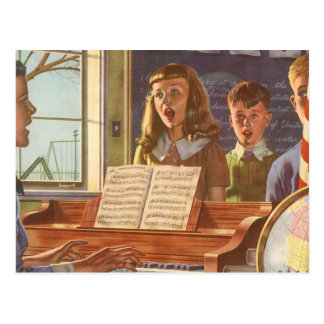 Vintage Music Teacher Teaching Students to Sing Postcard