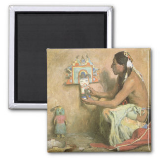 Vintage Native Americans, Hopi Katchina by Couse Square Magnet
