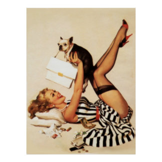 Vintage Naughty Puppy Love Pin Up Girl Poster