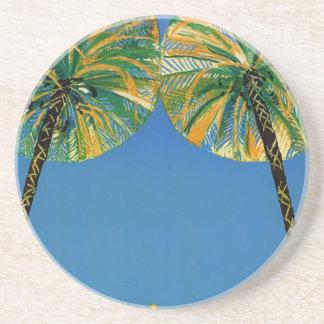 Vintage Palm Trees Cote D'Azur Coaster