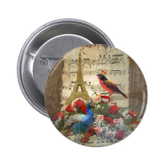 Vintage Paris & bird music sheet collage 6 Cm Round Badge