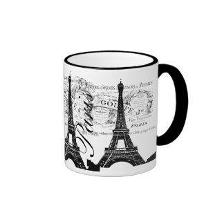 Vintage Paris & Eiffel Tower Label Ringer Mug
