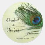 Vintage Peacock Feather Round Wedding Favour Label Round Sticker