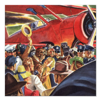 Vintage Pilot, Woman and Airplane with Paparazzi 13 Cm X 13 Cm Square Invitation Card
