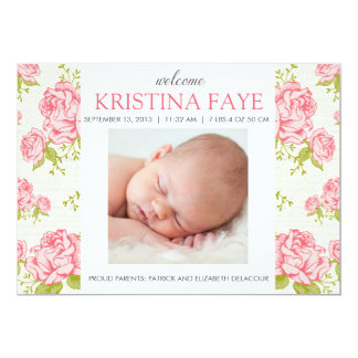 Vintage Pink Roses Floral Photo Birth Announcement