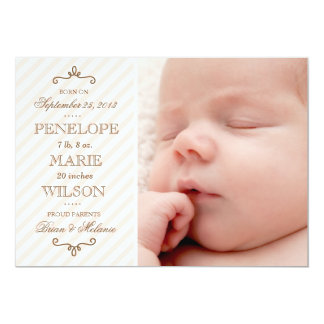 Vintage Pink Stripe Baby Girl Birth Announcement
