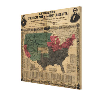 Vintage Political Map of The United States (1856) Gallery Wrapped Canvas