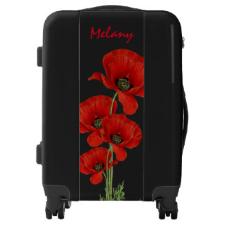 Vintage Poppies Botanical with Custom Monogram Luggage