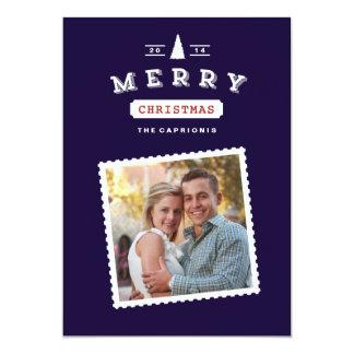 Vintage Postage Stamp Christmas Photo Card 13 Cm X 18 Cm Invitation Card