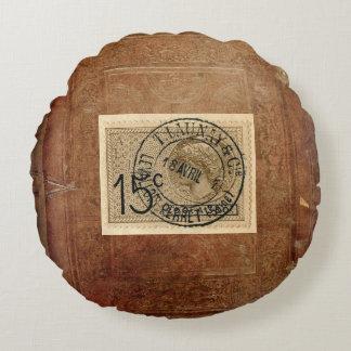 Vintage Postage Stamp print round pillow Round Cushion