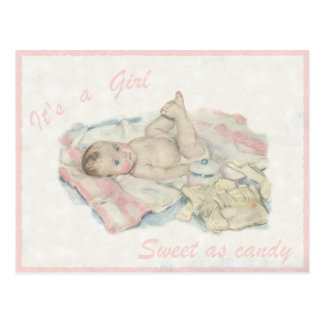Vintage Postcard with Cute Little Baby Girl