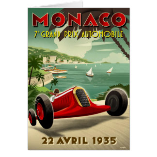 Vintage Postcard With Racing Sport Poster Print Greeting Card