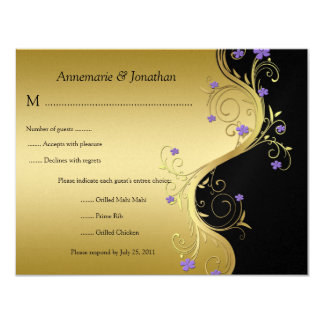 Vintage Purple Black and Gold Floral RSVP 11 Cm X 14 Cm Invitation Card