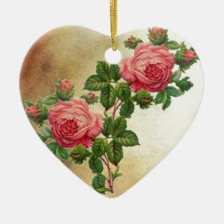 vintage red roses ceramic heart decoration