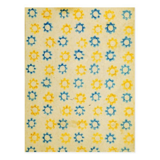 Vintage Retro Blue & Yellow Sun Stencil Texture Postcard