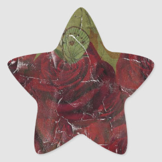 Vintage Roses Oil Grunge Star Sticker