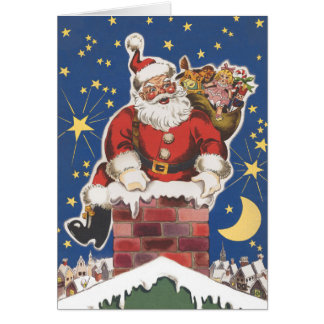 Vintage Santa Claus, Twas Night Before Christmas Greeting Card