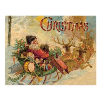 Vintage Santa in his reindeer sleigh Postcard