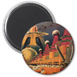 Vintage Science Fiction Futuristic City Flying Car 6 Cm Round Magnet