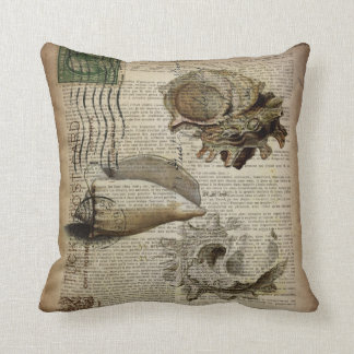 vintage sea shells elegant beach art throw cushions