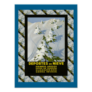 Vintage Ski Deportes de Nieve, Picos di Europa Poster